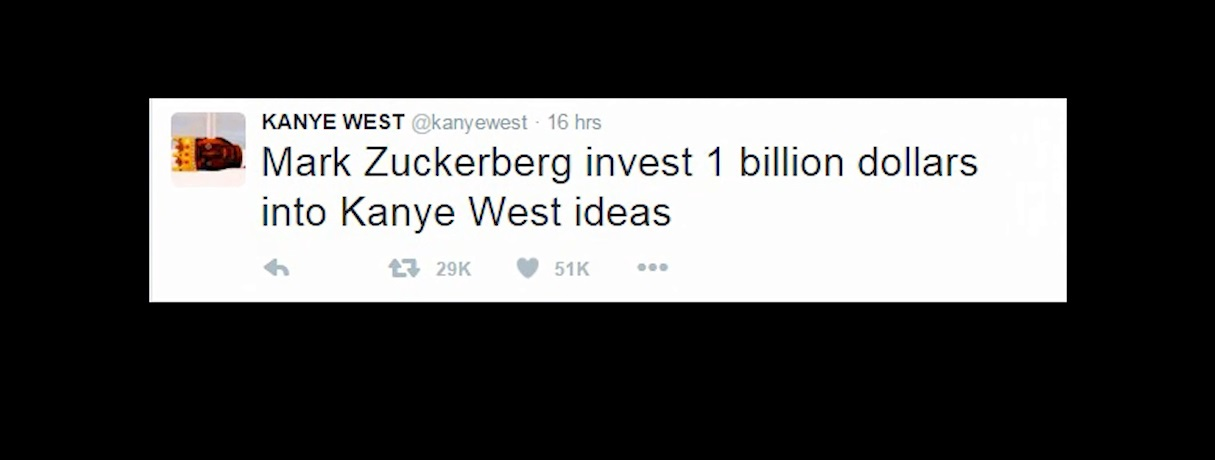 "Kanye West has asked Facebook founder Mark Zuckerberg to give him $1 billion to fund his ""genius"" ideas"