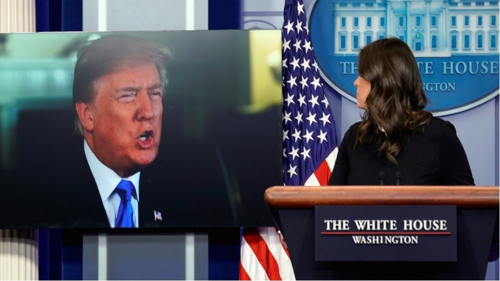 Trump mocked on Twitter after joining Sarah Sanders for press briefing via video