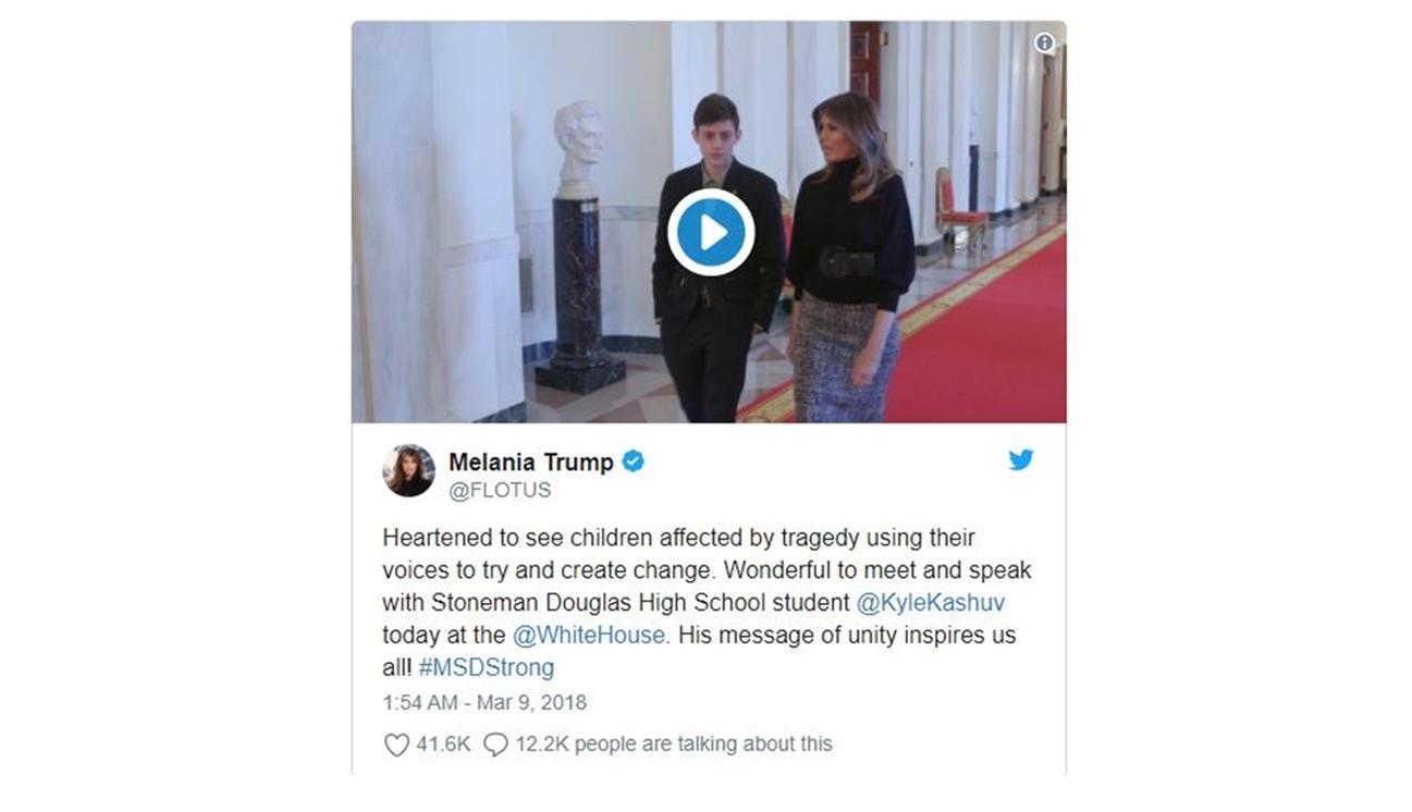 Melania Trump met pro-gun rights student from Parkland, Florida