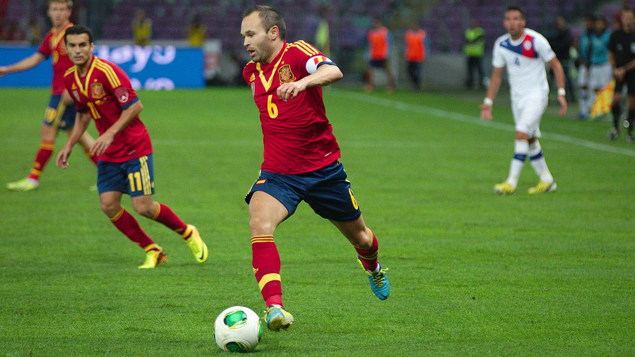 As rumors are that Andres Iniesta is leaving Barcelona, he led his team to a win