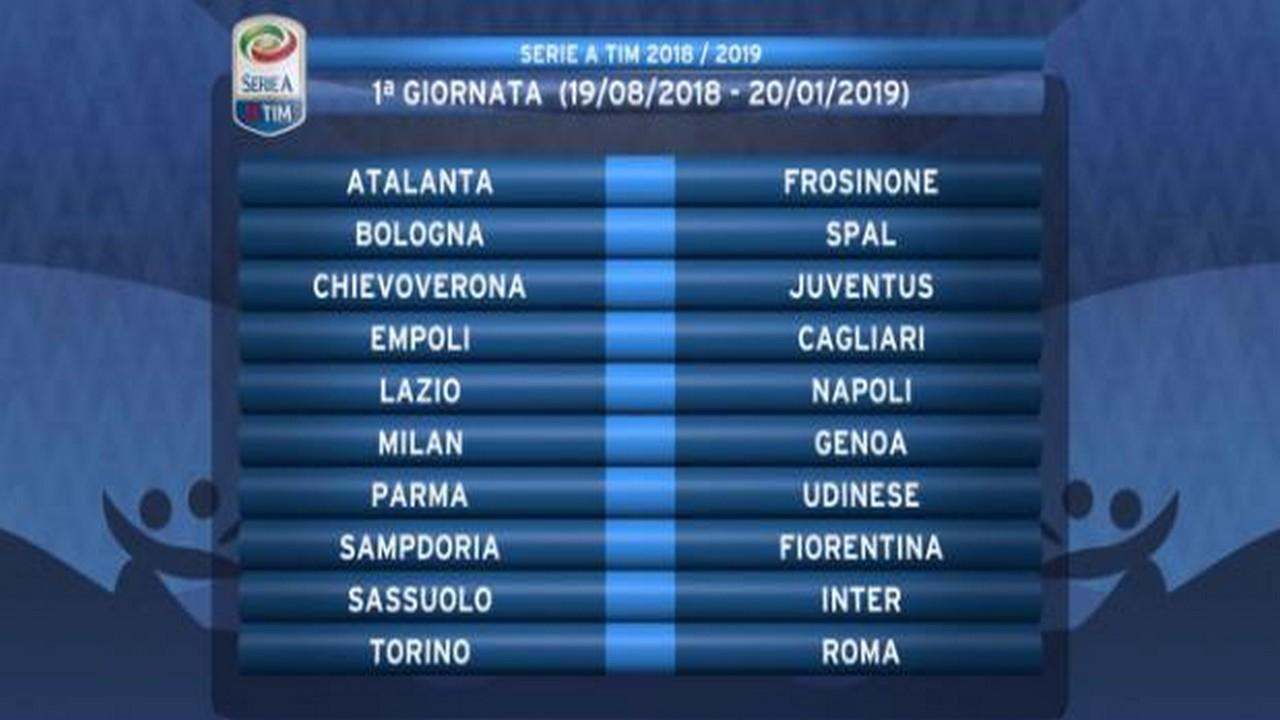 Calendario Prossime Partite Napoli.Calendario Serie A 2018 2019 Le Partite Della Prima Giornata