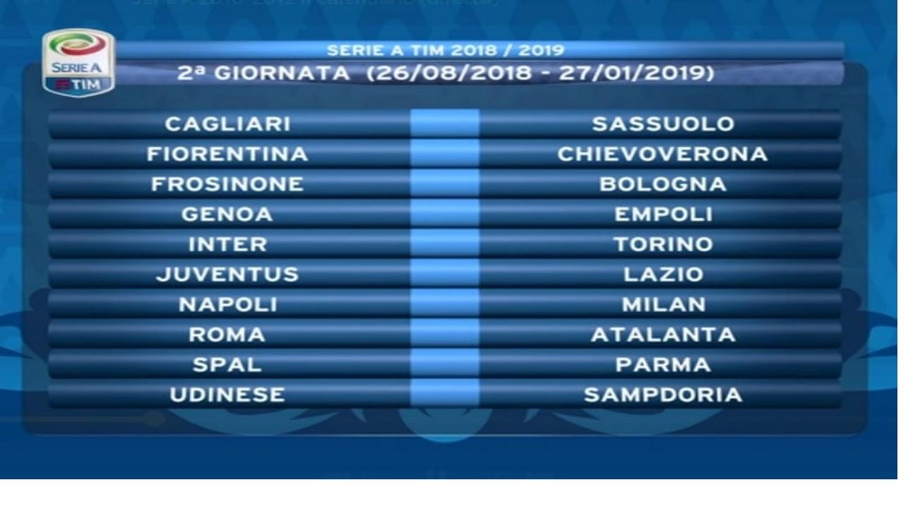 Calendario Serie A Seconda Giornata.Calendario Serie A Le Partite Della Seconda Giornata C E Napoli Milan