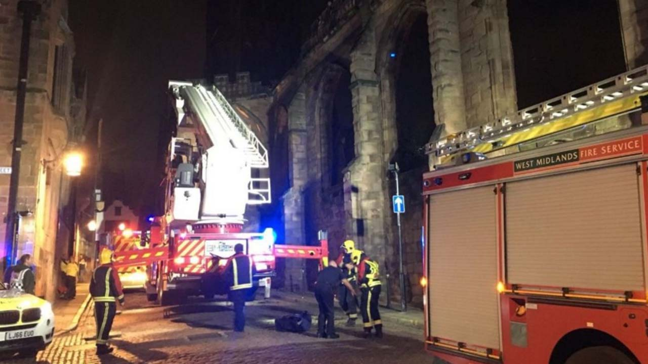Two drunken men climb Coventry Cathedral ruins and get stuck