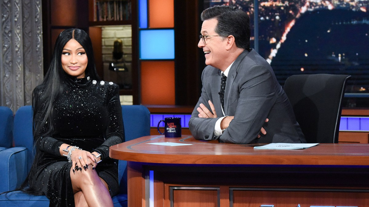 Nicki Minaj raps about having sex with Stephen Colbert on The Late Show