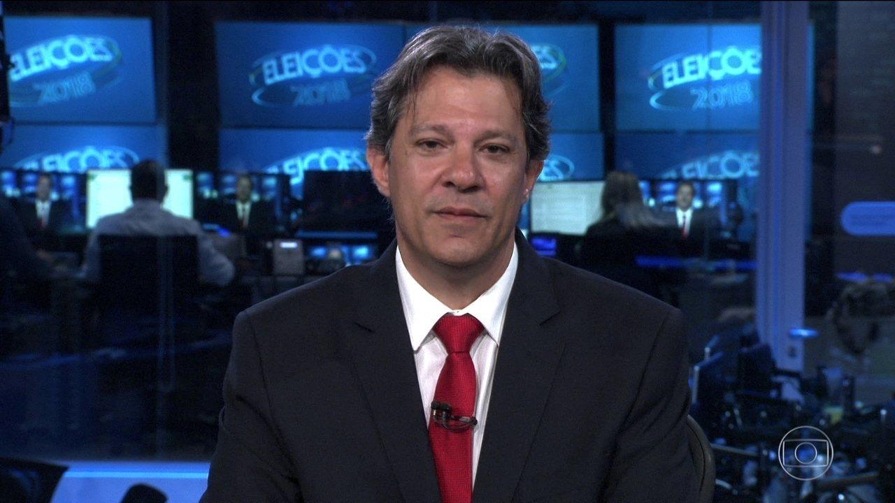 Haddad defende Dilma e critica Aécio e Cunha no JN