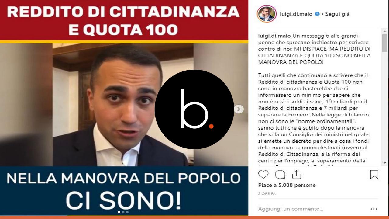 Pensioni, Di Maio: 'Per Quota 100 e reddito di cittadinanza decreto a Natale'