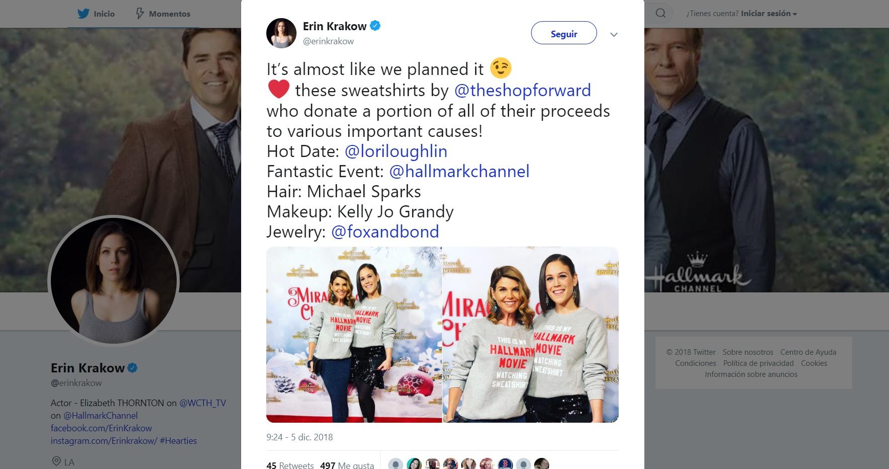 When Calls the Heart pals Erin Krakow, Lori Loughlin share a sweatshirt sister
