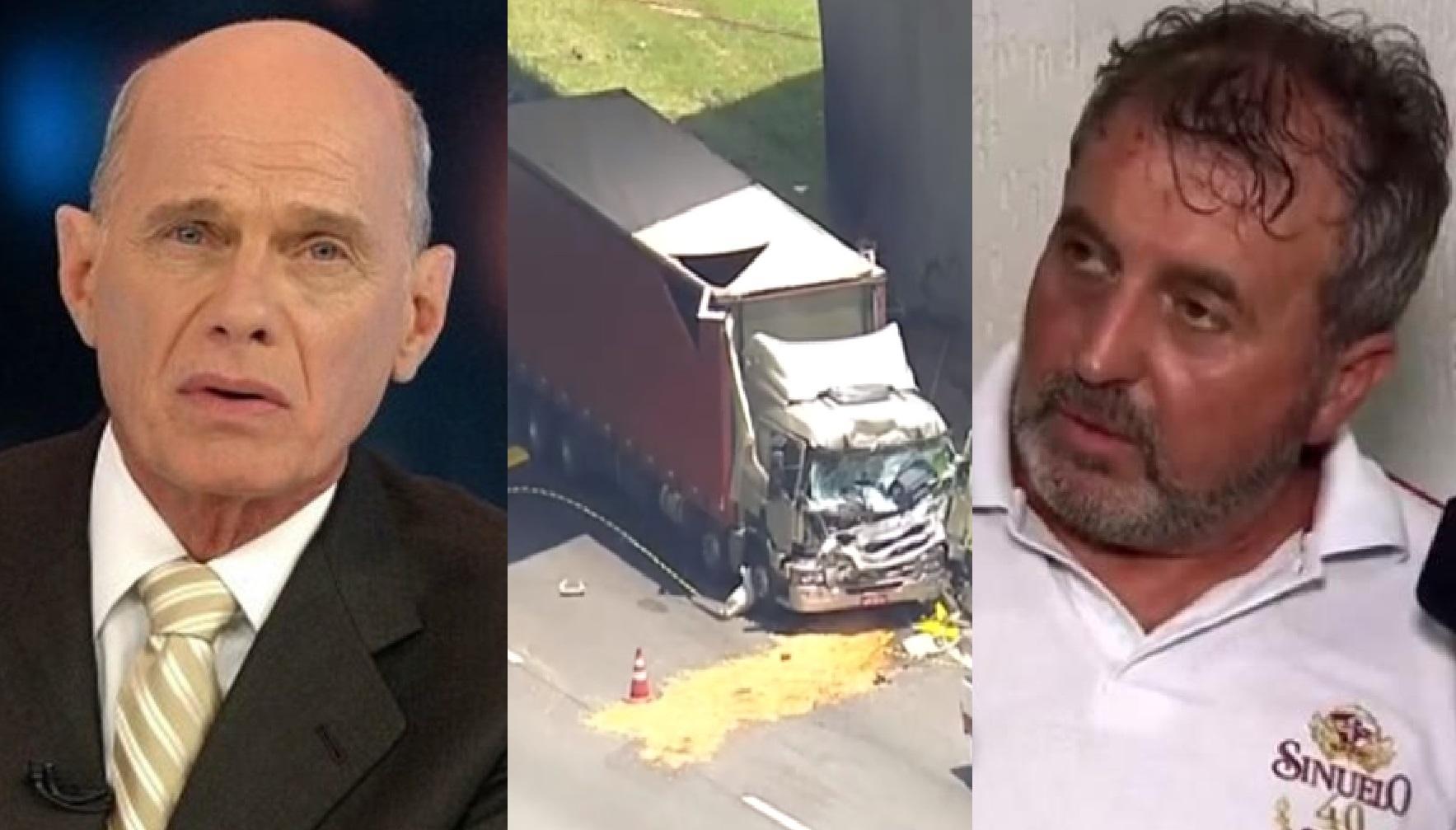 Motorista do caminhão atingido por helicóptero que vitimou Boechat conta o que viu