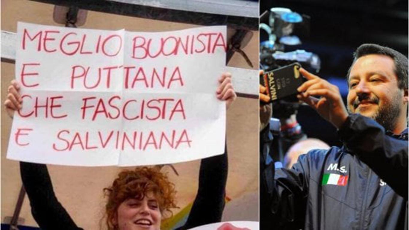Alla marcia di Milano, Salvini espone alla gogna social una ragazza che lo contestava