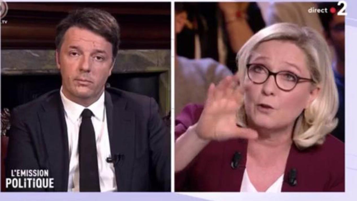 Scontro sulla TV francese tra Marine Le Pen e Matteo Renzi