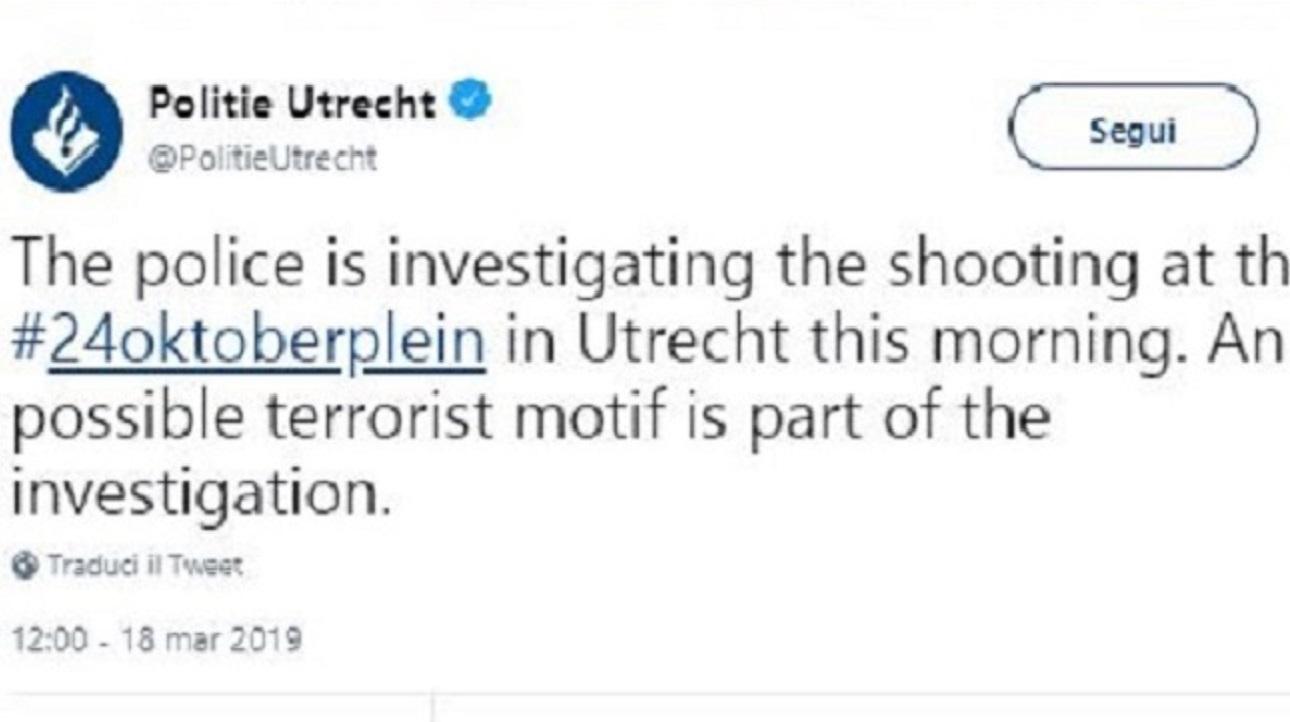 Olanda, torna l'incubo terrorismo: spari sul tram a Utrecht, ci sarebbero diversi feriti