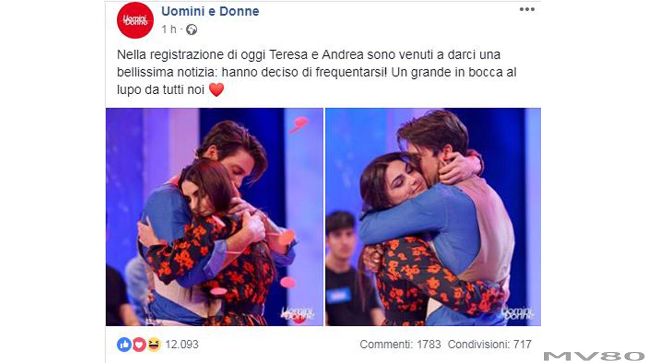 Uomini e Donne: Andrea Dal Corso è innamorato di Teresa Langella