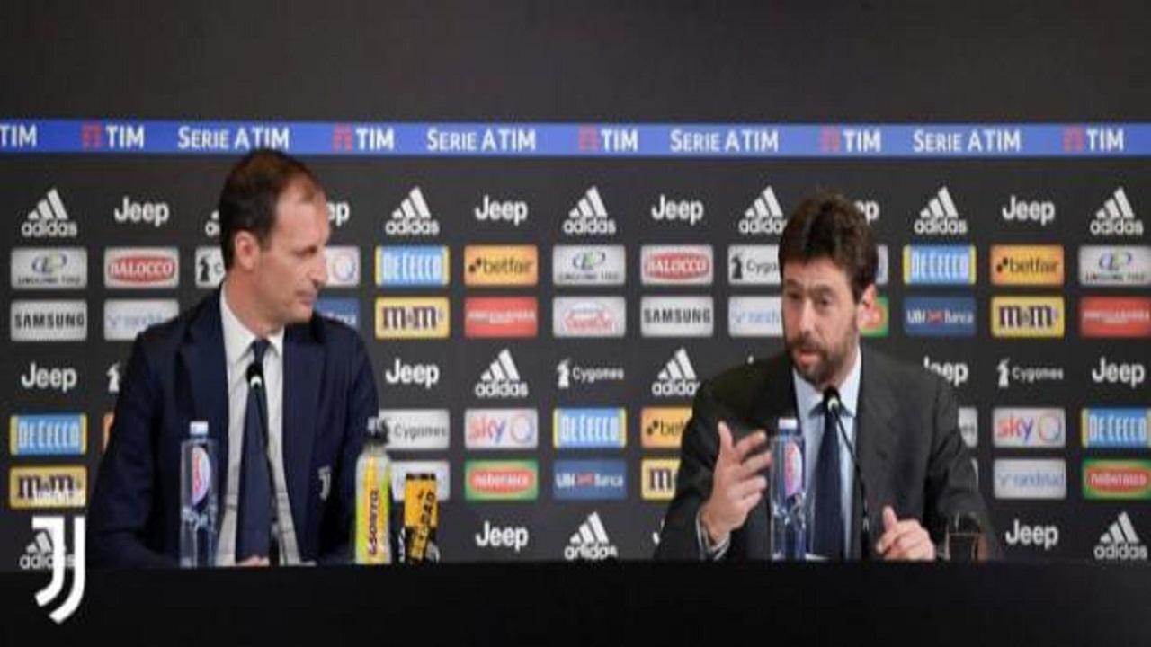 Juventus, Agnelli: 'Sono qui per celebrare Allegri, da solo ha scritto la storia'