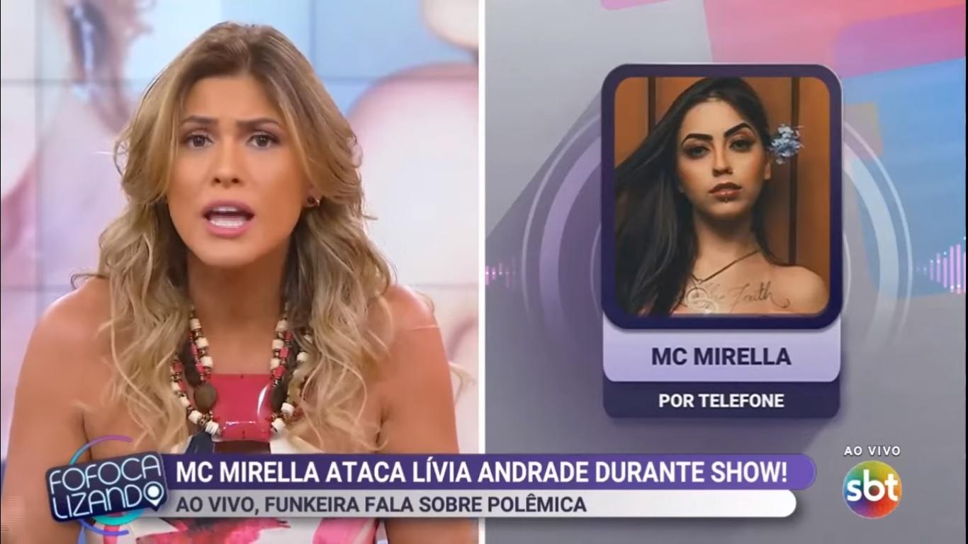 Lívia Andrade e MC Mirella quebram o pau ao vivo no 'Fofocalizando' e vídeo viraliza