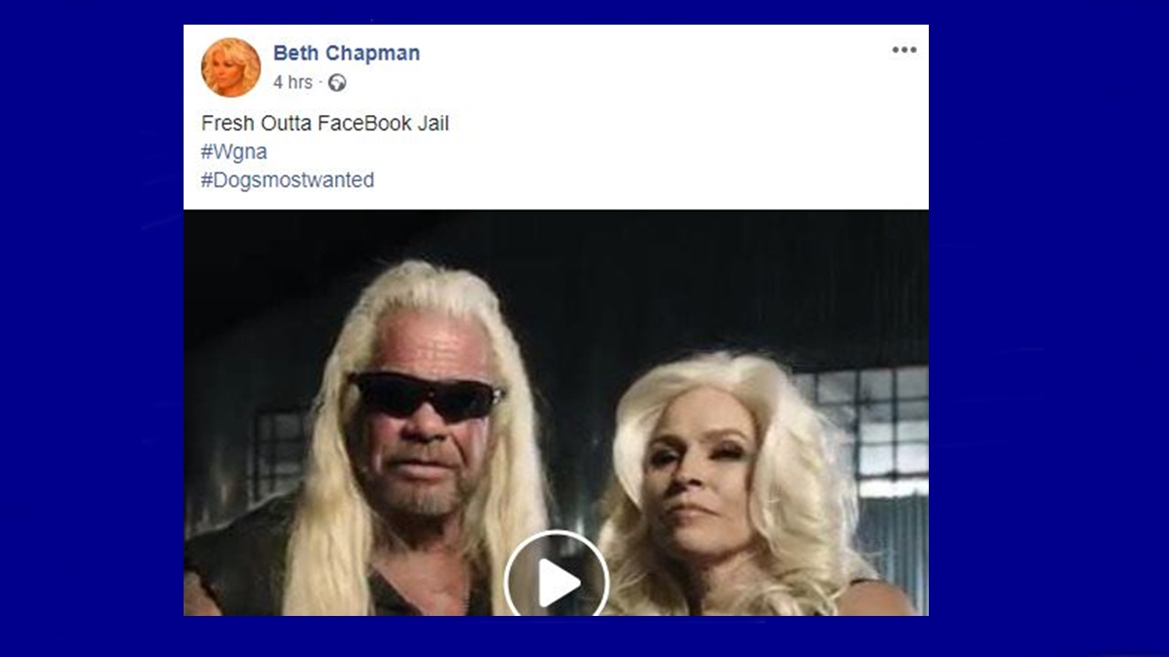 'Dog's Most Wanted': Beth Chapman says she's 'Fresh Outta FaceBook Jail'