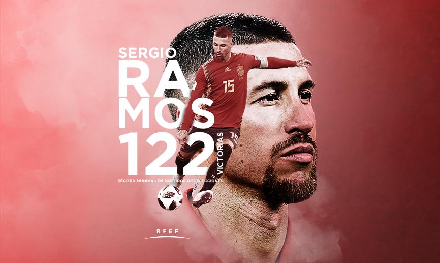 El jugador con más victorias en partidos disputados entre selecciones es Sergio Ramos