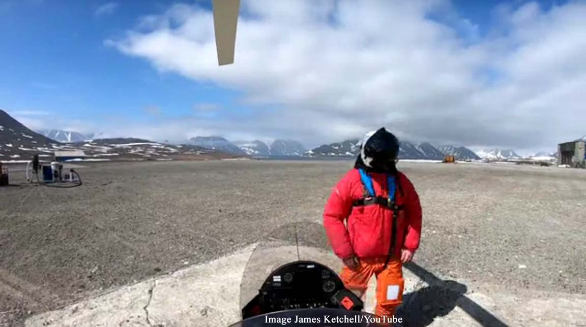 British adventurer James Ketchell circumnavigating the world in a gyrocopter for charity
