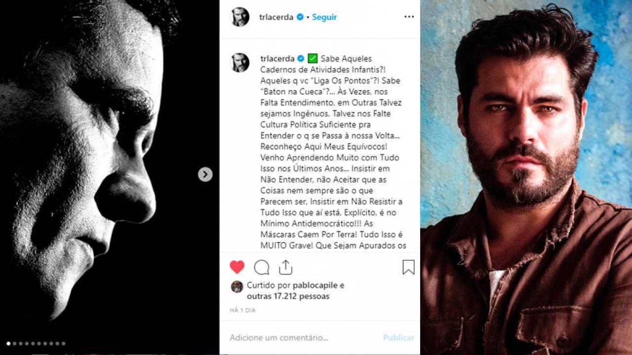 Antes apoiador da Lava Jato, Thiago Lacerda muda de lado e pede 'Lula Livre'