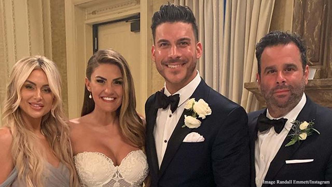 Lala Kent and Randall Emmett attend Jax Taylor and Brittany Cartwright's wedding
