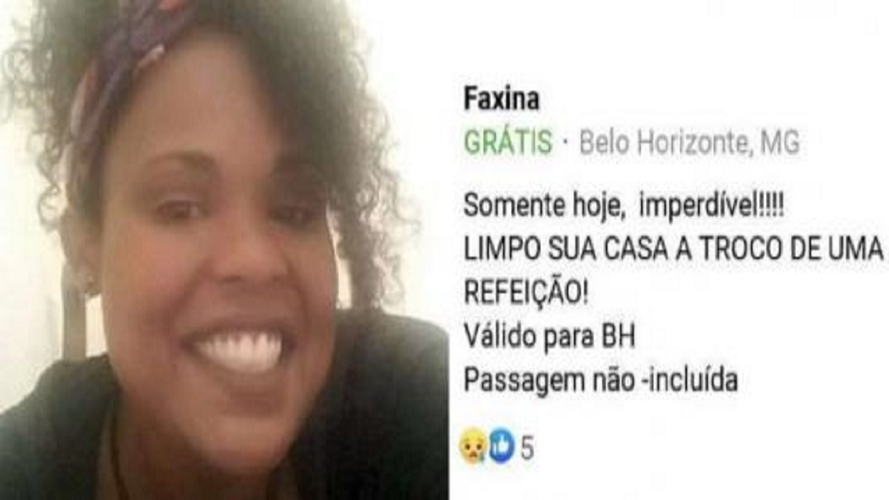 Mulher faz postagem em rede social oferecendo faxina em troca de comida