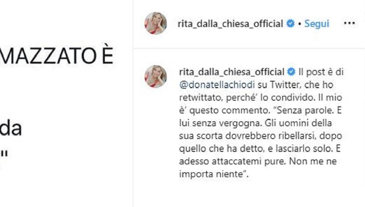 Omicidio Rega: Rita Dalla Chiesa su critiche di Saviano, 'La scorta deve lasciarlo solo'