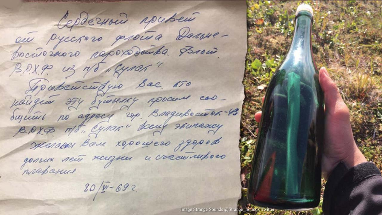 Alaska man hunting for firewood finds 50-year-old Russian message in a bottle