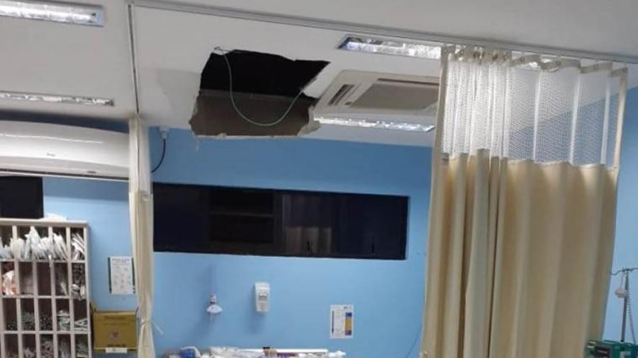Homem que estava preso em hospital tenta fugir pelo teto e cai sobre paciente